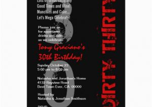 Dirty Thirty Birthday Cards Dirty Thirty Birthday Black White Red Template Card Zazzle