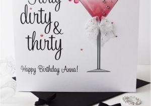 Dirty Thirty Birthday Cards Sparkly Martini Flirty Dirty Thirty Pe Folksy