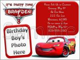 Disney Cars Personalized Birthday Invitations Disney Cars Custom Photo Birthday Invitation