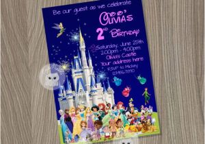 Disney Character Birthday Invitations Disney Castle Invitation Disney Characters by Cutepixels
