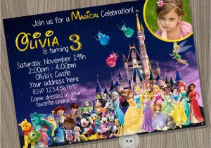Disney Character Birthday Invitations Disney Castle Invitation Disney Characters Invitation Disney