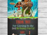 Disney Moana Birthday Card Disney Moana Thank You Card Chalkboard Moana Maui Birthday