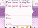 Disney Princesses Birthday Invitations Free Printable Disney Princess Birthday Invitations