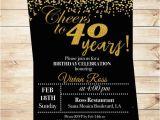 Diy 40th Birthday Invitations Cheers to 40 Years Birthday Printable Invitation 40th