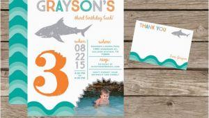 Diy Birthday Invitation Kits Diy Printable Shark Birthday Invitation Kit Invite and Thank