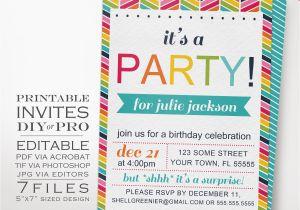 Diy Birthday Invitations Online Free Rainbow Party Invitation Template