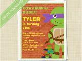 Diy Ninja Turtle Birthday Invitations Ninja Turtles Tmnt Printable Diy Birthday by Eclecticnotecards