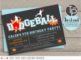 Dodgeball Birthday Party Invitations Dodgeball Invitation Instant Download Invitation Dodgeball
