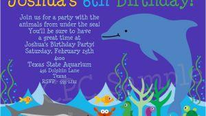 Dolphin Birthday Invitations Dolphin Aquarium Birthday Invitations