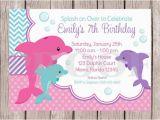 Dolphin Birthday Invitations Printable Printable Pink Dolphin Birthday Party Invitation Pink and