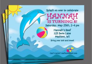 Dolphin Invitations Birthday Invitation Printable Or Printed With Free Shipping