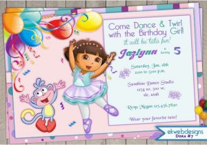 Dora Birthday Cards Free Printable Dora the Explorer Birthday Invitation Dora Ballerina