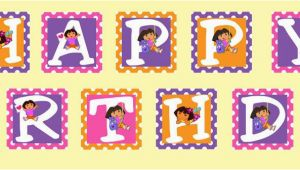 Dora Happy Birthday Banner Dora the Explorer themed Printable Happy Birthday Banner