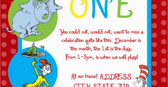 Dr Seuss 1st Birthday Invitations Dr Seuss First Birthday Party Invitation by Sdgraphicdesign