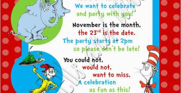 Dr Seuss 1st Birthday Party Invitations Custom Personalized Dr Seuss Inspired 1st 2nd or 3rd