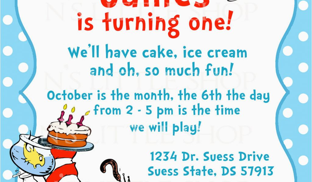 Download by size:Handphone Tablet Desktop (Original Size). Back To Dr Seuss 1st Birthday Party Invitations