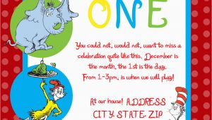 Dr Seuss Birthday Invite Dr Seuss First Birthday Party Invitation by Sdgraphicdesign