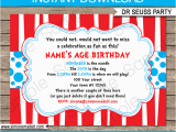 Dr Seuss Birthday Invite Dr Seuss Party Invitations Birthday Party Template