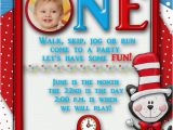 Dr Seuss First Birthday Invitations Dr Seuss Birthday Party Invitation Custom First Birthday