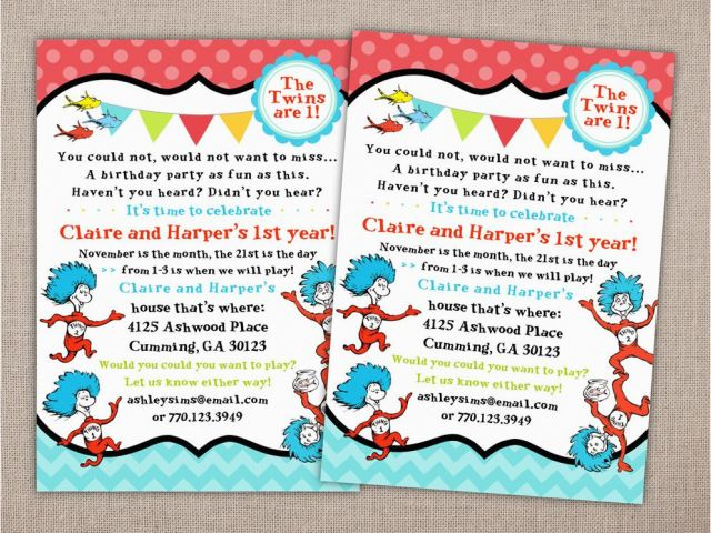 Dr Seuss Twin Birthday Invitations Party