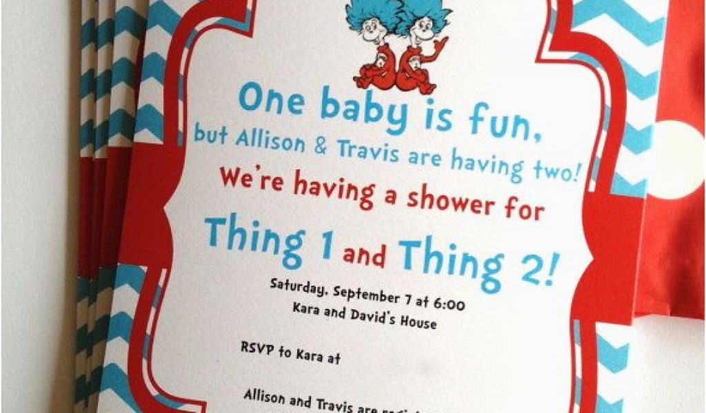 Dr Seuss Twin Birthday Invitations Thing 1 And 2 Twins