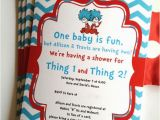 Dr Seuss Twin Birthday Invitations Dr Seuss Thing 1 and 2 Twins Birthday Party or Baby Shower