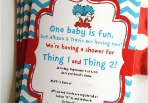 Dr Seuss Twin Birthday Invitations Thing 1 And 2 Twins Party Or Baby