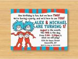 Dr Seuss Twin Birthday Invitations Dr Seuss Thing 1 and Thing 2 Invitation by Littleforests