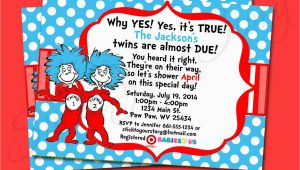 Dr Seuss Twin Birthday Invitations Dr Seuss Thing 1 Thing 2 Twin Invitation Baby by