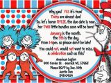 Dr Seuss Twin Birthday Invitations Dr Seuss Thing Thing Twin Baby Shower Invitation Shops
