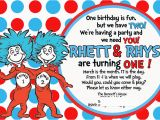 Dr Seuss Twin Birthday Invitations Thing 1 and Thing 2 Quotes Quotesgram