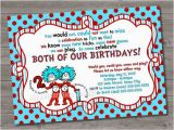 Dr Seuss Twin Birthday Invitations Thing 1 Thing 2 Birthday Invitation Dr Seuss Birthday