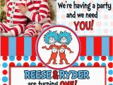 Dr Seuss Twin Birthday Invitations Twin Birthdays and Birthday Invitations On Pinterest
