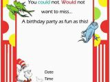 Dr Suess Birthday Invitations Free Printable Dr Seuss First Birthday Invitations