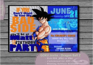 Dragon Ball Z Birthday Invitations Goku Party Invitation Anime Printable