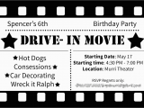Drive In Movie Birthday Party Invitations Drive In Movie Birthday Party Ideas by Simplistically Sassy