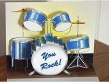 Drummer Birthday Card Pop Up Blue Drum Set Birthday Card You Rock