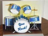 Drummer Birthday Cards Pop Up Blue Drum Set Birthday Card You Rock