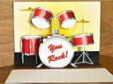 Drummer Birthday Cards Pop Up Red Drum Set Birthday Card You Rock