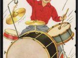 Drummer Birthday Cards Vintage Drum Set Hound Dog Greeting Card Old Stock
