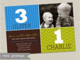 Dual Birthday Invitations Double Birthday Party Invitation Brothers Joint Party Invite