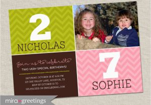 Dual Birthday Party Invitations Double Birthday Party Invitation Dual Birthday Party Two