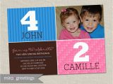 Dual Birthday Party Invitations Double Birthday Party Invitation Sibling Birthday or Joint