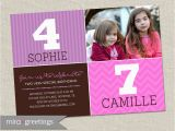 Dual Birthday Party Invitations Double Birthday Party Invitation Sisters Joint Party Invite