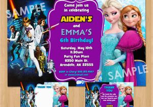 Dual Birthday Party Invitations Double Birthday Party Invitation Star Wars and Frozen Boy