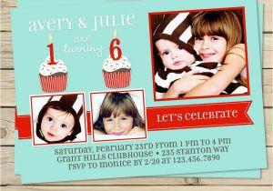 Dual Birthday Party Invitations Dual Birthday Party Invitations Printable Double Birthday