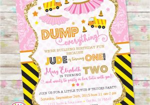 Dual Birthday Party Invitations Dump Truck and Tutu Invitation Trucks and Tutus Double
