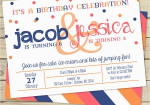 Dual Birthday Party Invitations Sibling Double Birthday Party Invitation Two Child Birthday