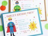 E Invitation for Birthday Party Superhero Personalised Birthday Party Invitations by