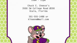 E Invite for Birthday Chuck E Cheese Birthday Invitation
